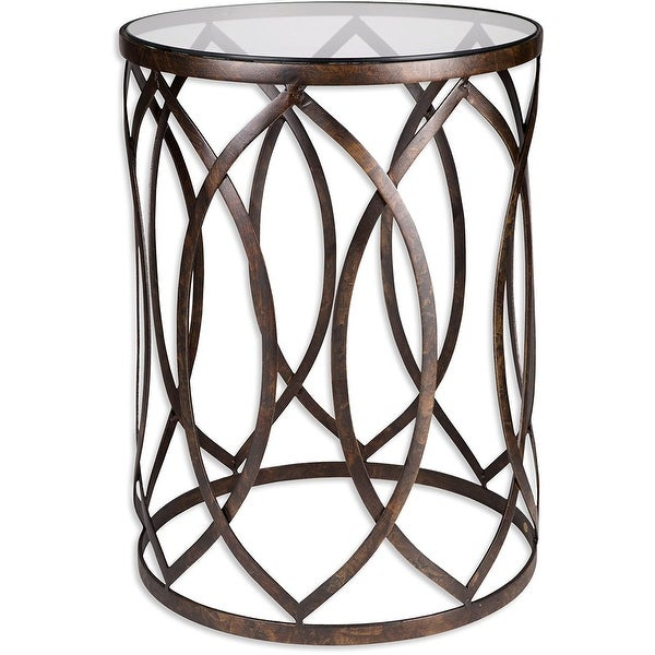 Golden Accent Design Palais Furnishings Feuilles Metal Barrel End Table,