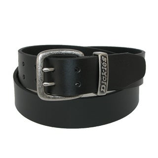 Dickies Men's Big & Tall Leather Double Prong 1 1/2 Inch Belt - Black