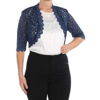 R&M RICHARDS Womens Blue Sequin Lace Bolero Evening Jacket Petites  Size: 12