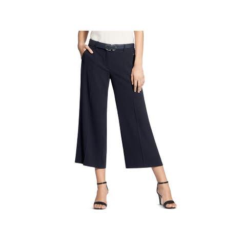 Basler Womens Cropped Pants Wide Leg Crepe - Navy