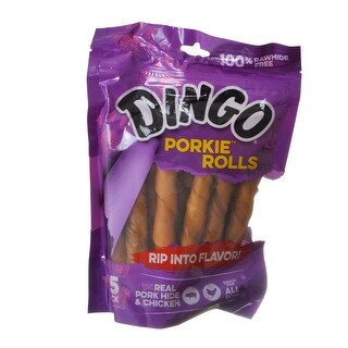 "Dingo Porkie Rolls (No China Sourced Ingredients) 15 Pack - (5"" Rolls)"