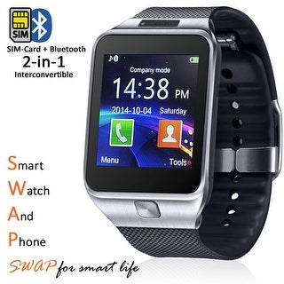 Indigi® SWAP 2-in-1 Gear SmartWatch & Phone + Bluetooth Sync + Optional SIM + SMS Notify (Android or iOS Compatible)
