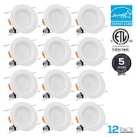 12-PACK 15W 5/6 inch Dimmable Recessed LED Downlight, CRI 90+, Baffle Trim, 5000K