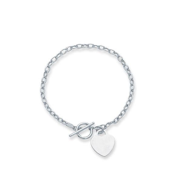 Mcs Jewelry Inc 14 KARAT WHITE GOLD HEART DANGLE CHARM BRACELET