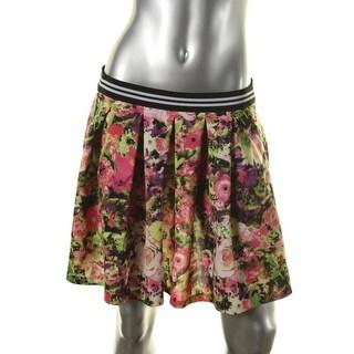 Aqua Womens Contrast Trim Floral Print Pleated Skirt - L