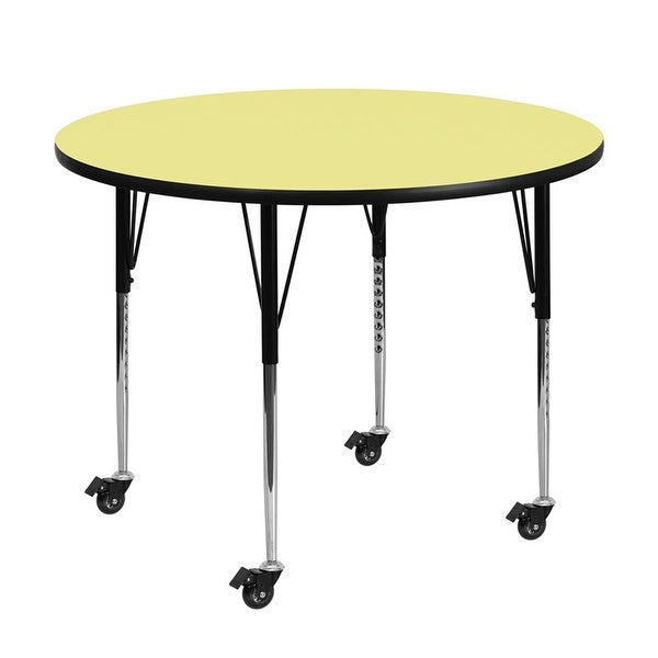 "Offex 60"" Mobile Round Activity Table with Yellow Thermal Fused Laminate Top and Height Adjustable Pre-School Legs - N/A"