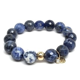 Blue Sodalite 'Lauren' Stretch Bracelet, 14k over Sterling Silver
