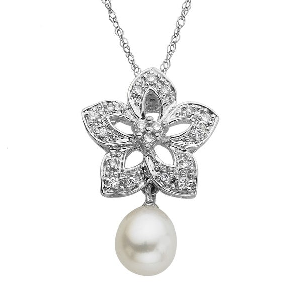 Freshwater Pearl & 1/8 ct Diamond Flower Pendant in 14K White Gold