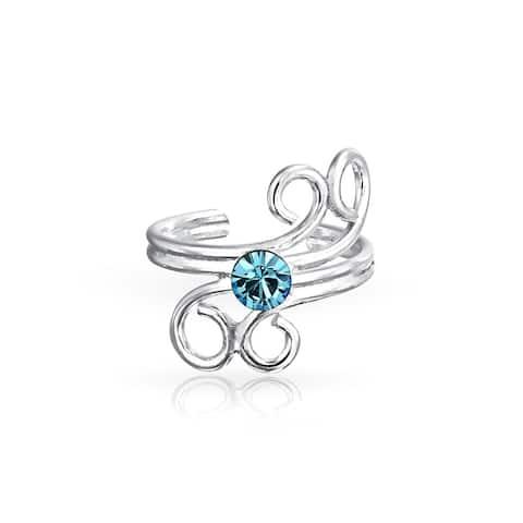 Aqua Blue Spiral Cartilage Ear Cuff Wrap Earring 925 Sterling Silver