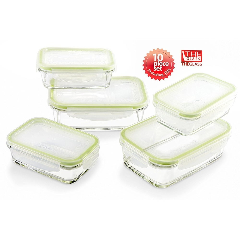 The Glass 10 Piece Rectangular Food Storage Container Set - Thumbnail 0