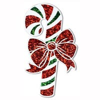"Club Pack of 12 Prismatic Green, Red, and White Candy Cane Cutout Christmas Decorations 16"" - RED"
