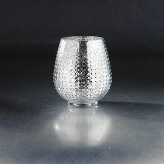 "8"" Silver Colored Textured Metallic Bumpy Glass Vase"