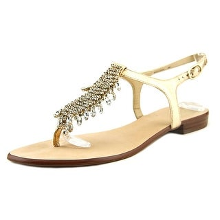 Vince Camuto Jachai Women Open Toe Leather Gold Thong Sandal