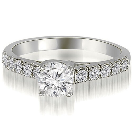 1.25 cttw. 14K White Gold Trellis Round Cut Diamond Engagement Ring