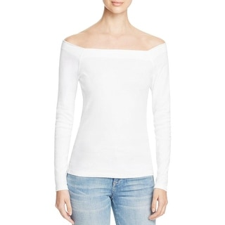 Three Dots Womens Pullover Top Off-The-Shoulder Tee