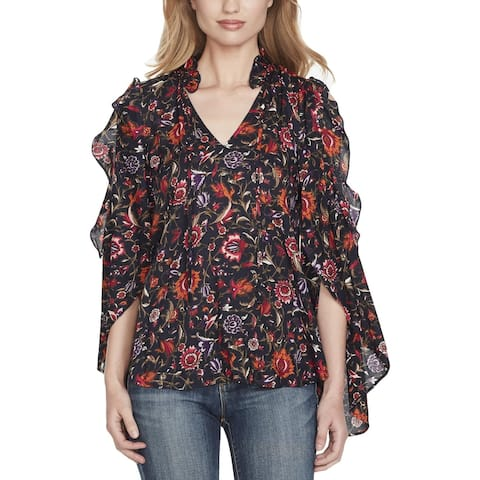 Jessica Simpson Womens Pullover Top Floral Cold Shoulder
