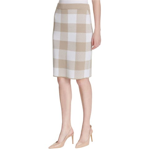 Calvin Klein Womens Check Pencil Skirt, Beige, Medium