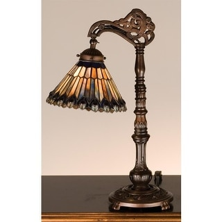 Meyda Tiffany 32738 Stained Glass / Tiffany Desk Lamp from the Jeweled Peacock Collection