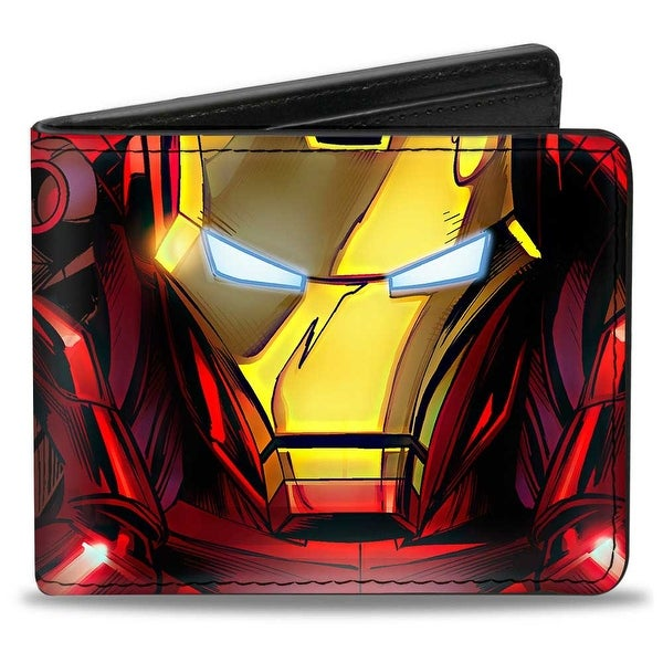 Marvel Avengers Iron Man Face + Chest Arc Reactor Close Up Bi Fold Wallet - One Size Fits most