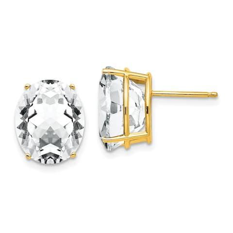 14K Yellow Gold 12x10mm Oval Cubic Zirconia Earrings By Versil