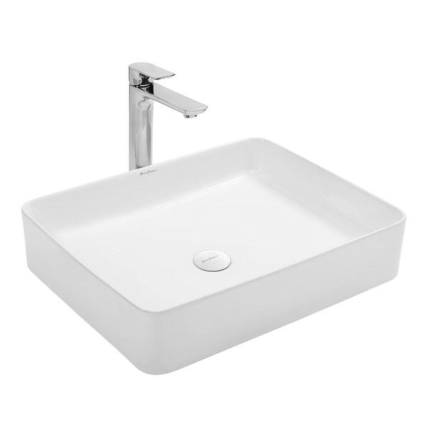"Swiss Madison SM-VS242 Plaisir 20"" Rectangular Vessel Ceramic Bathroom Sink - White"