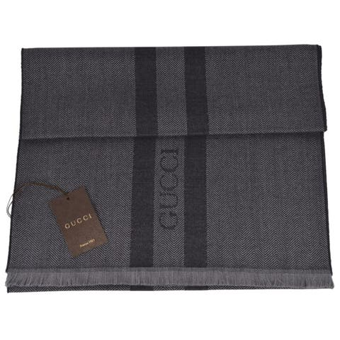 "Gucci 544628 Wool Ombre Grey Embroidered Logo Striped Scarf Muffler - 75"" x 15.5"""