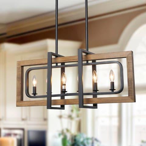 "Modern Farmhouse 6-light Wood Kitchen Island Chandelier for Dining Room - W31.5"" x E8.7"" x H13.8"""