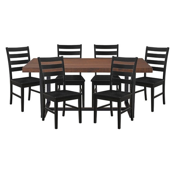 Delacora WE BD72DSLB 7 Seven Piece Distressed Wood Dining Table Set    Mahogany With Black   N/A
