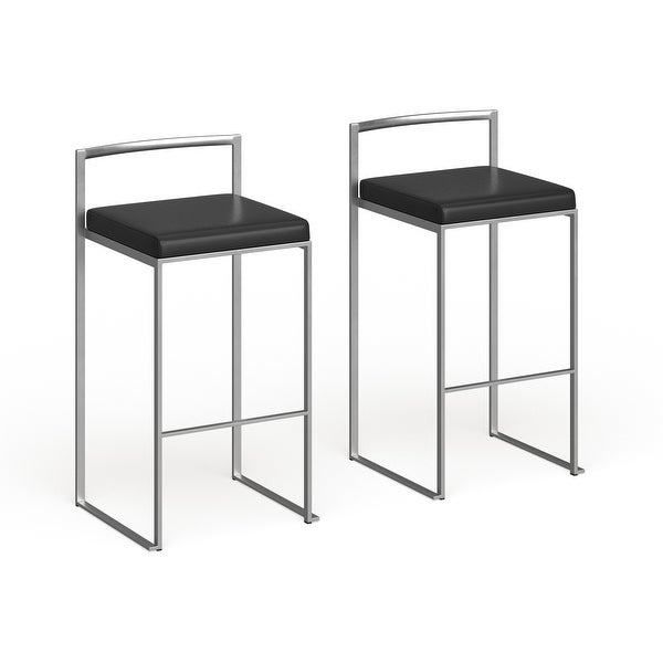 Silver Orchid Forrest Stackable Faux Leather Bar Stools (Set of 2) - N/A. Opens flyout.