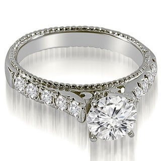 1.20 CT.TW Vintage Cathedral Round Cut Diamond Engagement Ring in 14KT - White H-I