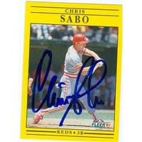Chris Sabo Autographed Baseball Card Cincinnati Reds 1991 Fleer No