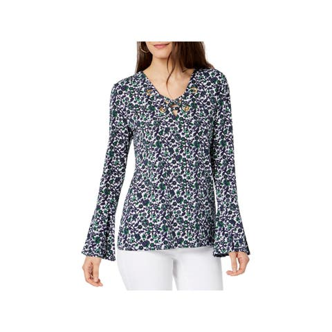 MICHAEL Michael Kors Womens Petites Pullover Top Lace-Up Bell Sleeves