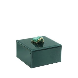 American Atelier Green and Gold Agate Emerald Jewelry Box