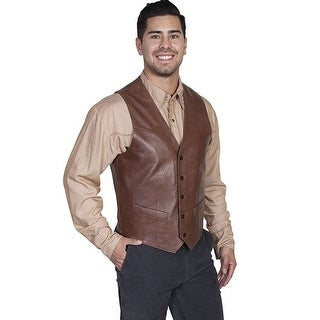 Scully Western Vest Mens Lambskin Leather Button Chocolate 503-427