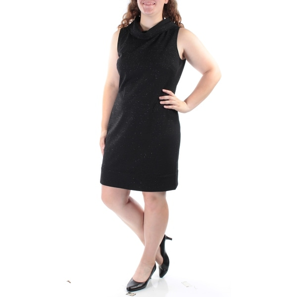 32bfb9eaf2724 AMERICAN LIVING Womens Black Sleeveless Cowl Neck Above The Knee Dress  Size: 16