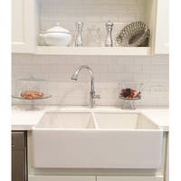 "Double Bowl Farm, Farmhouse Apron Front Fireclay Kitchen Sink, 33"", White, Reversible Smooth / Fluted"
