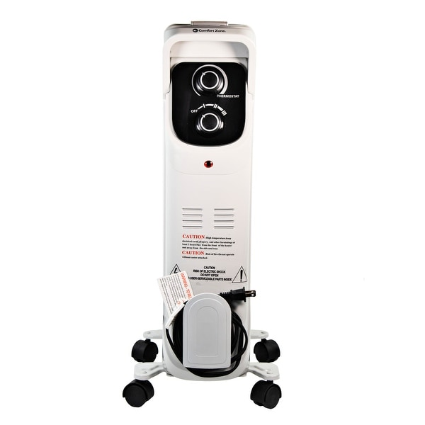 Comfort Zone CZ8008 Silent Electric Oil-Filled Radiator Heater with 360-Degree Swivel Casters, Gray. Opens flyout.