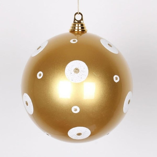 "Gold with White Glitter Polka Dots Christmas Ball Ornament 8"" (200mm)"