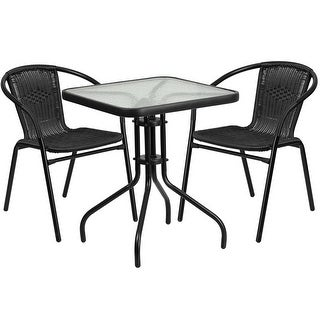 Skovde Square 23.5u0027u0027 Glass Metal Table W/2 Black Rattan Stack Chairs For