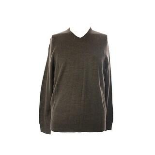 Club Room Dark Taupe Solid Merino V- Neck Sweater S