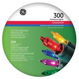 GE 64675 Constant On Miniature String Light Set, Multicolored, 74' L