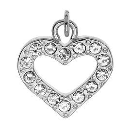 Silver Plated Lightweight Charm, Crystal Lined Open Heart 15x14.3x2.3mm, 1 Piece, Silver