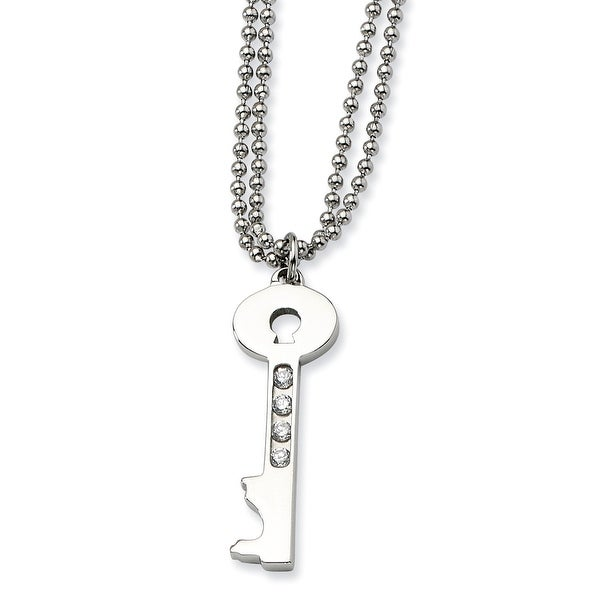 Chisel Stainless Steel Polished Key with CZs 24 Inch Necklace (2 mm) - 25 in