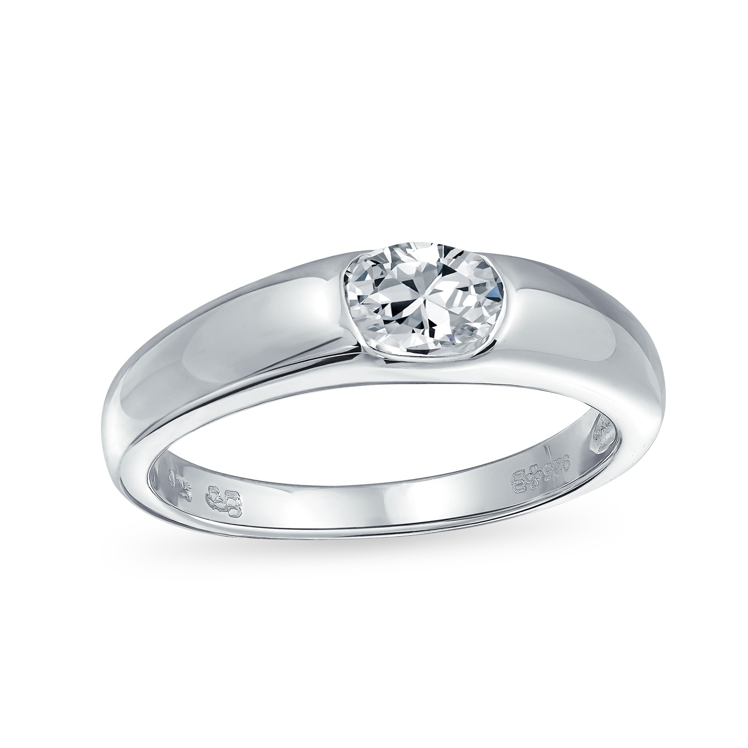 Shop 50 Ct Brilliant Solitaire Cz Band 925 Sterling Silver Engagement Ring Overstock 17984339