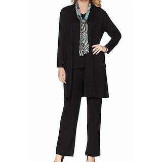 Antthony NEW Black Womens Size L 4 Piece Cardigan Tank Scarf Pant Sets