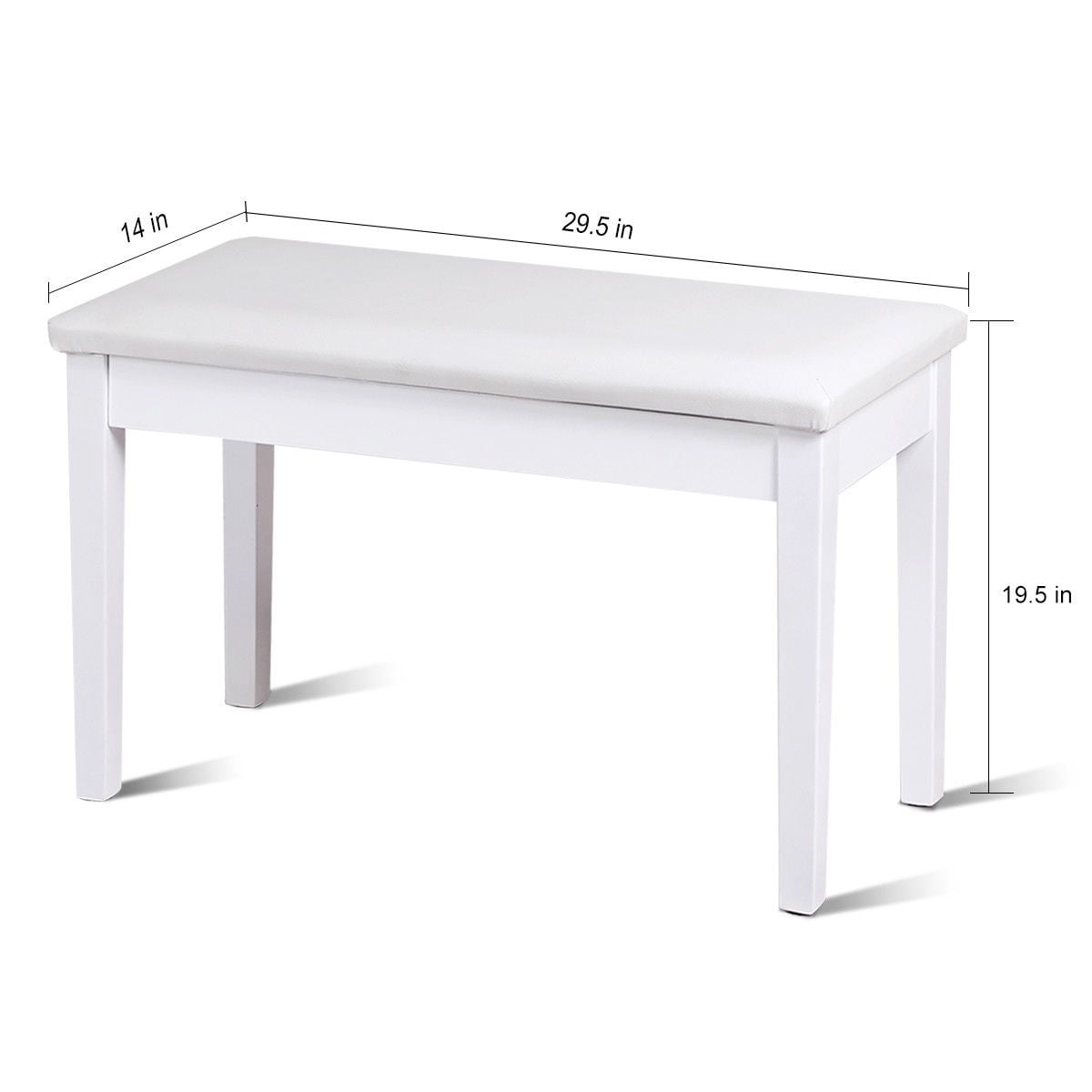 Stupendous Costway Solid Wood Pu Leather Piano Bench Padded Double Duet Keyboard Seat Storage White Caraccident5 Cool Chair Designs And Ideas Caraccident5Info
