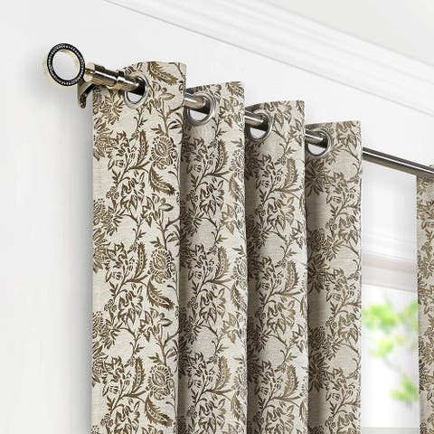 Deco Window 1 Inch Adjustable Nickel Curtain Rod with Round Finials & Brackets Set