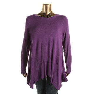 Eileen Fisher Womens Plus Ribbed Trim Long Sleeves Tunic Sweater
