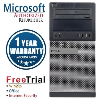 Refurbished Dell OptiPlex 9010 Tower Intel Core I3 3220 3.3G 8G DDR3 320G DVD WIN 10 Pro 64 Bits 1 Year Warranty - Black