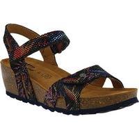 Spring Step Women's Charanga Wedge Sandal Black Multi Leather